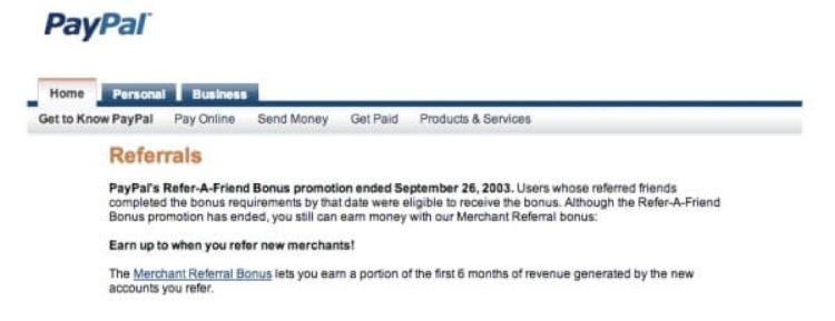 PayPal referral program offer.