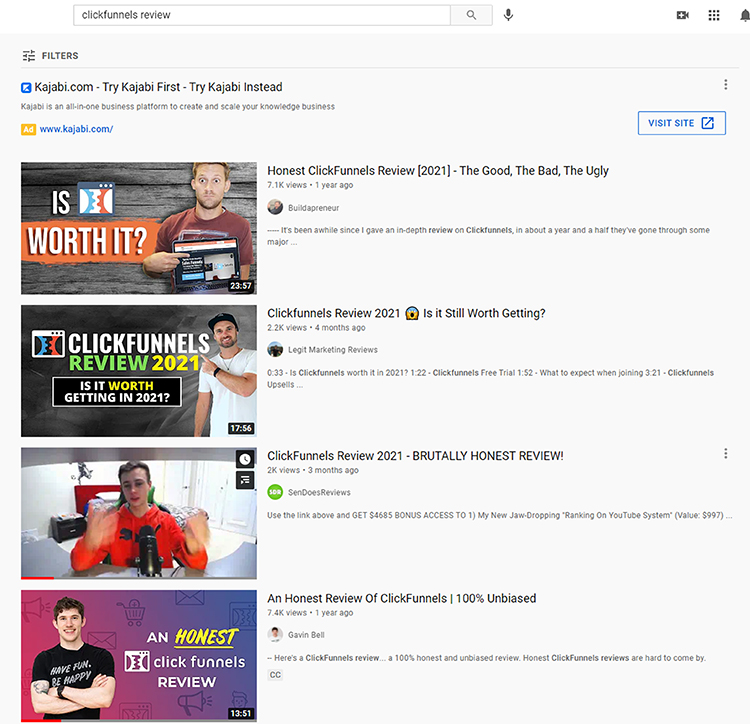 YouTube, Clickfunnels review search results webpage.