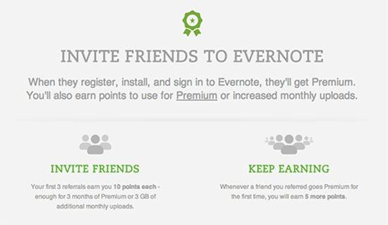 Envernote, referral program example.