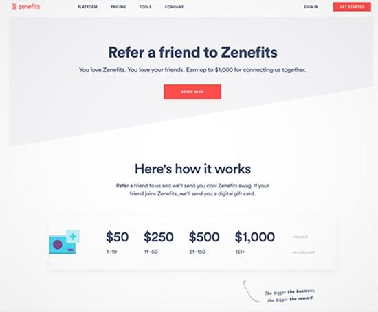 Zenefits, referral program example.