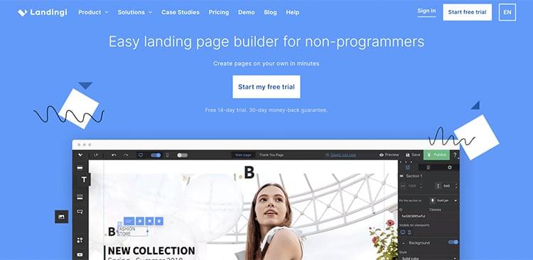 Landingi website homepage, easy landing page builder example.