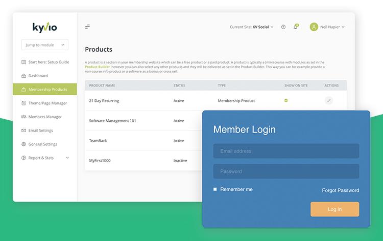Kyvio's membership site dashboard editor.