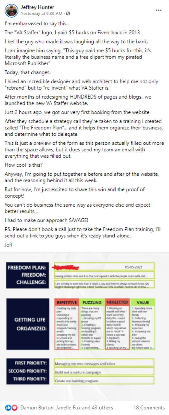 Jeffery Hunter Facebook post example.