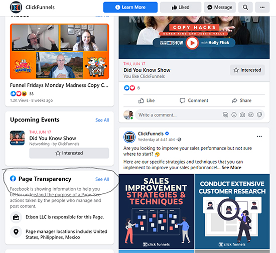 Facebook Ads (With a Twist), facebook page transparency selection.