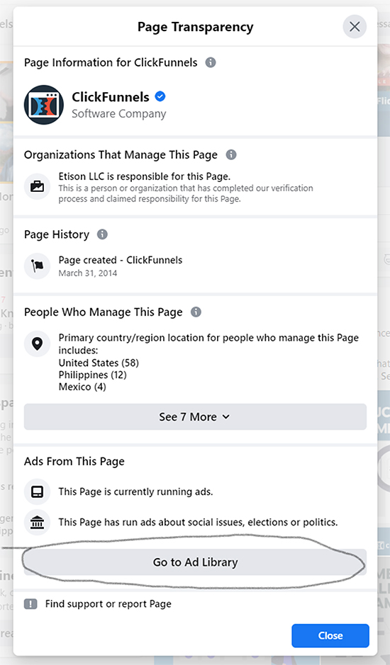 """Facebook Ads (With a Twist), facebook page transparency selection, """"Go to Ad Library"""" option."""
