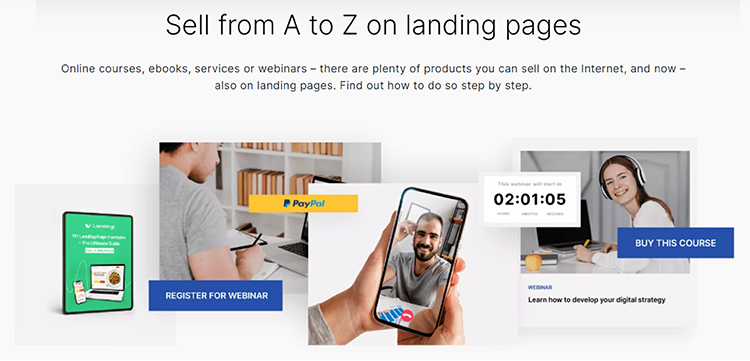 Landingi, sell from A to Z on landing pages graphics.