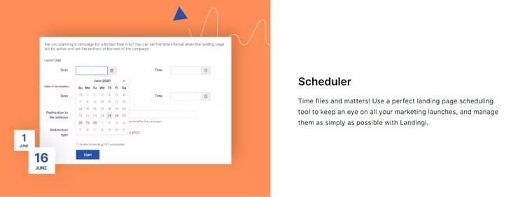 Landingi scheduler features.