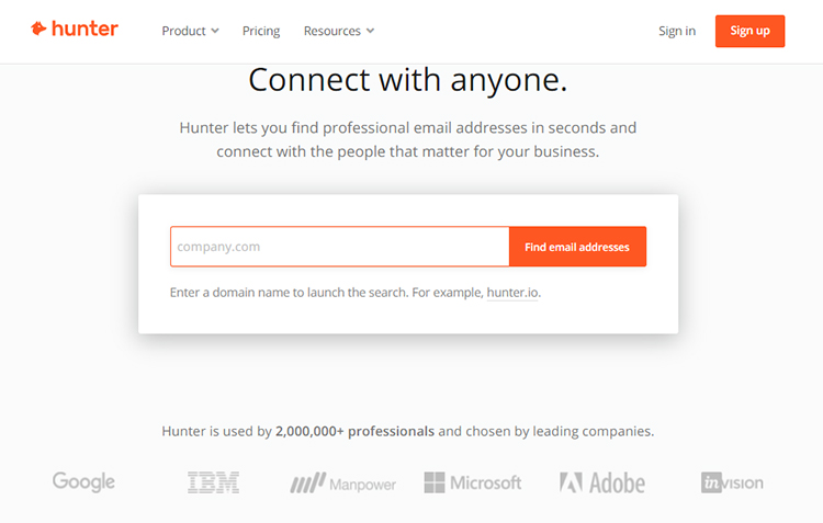Find Contact Details of Your Dream Customers, hunter.io example.