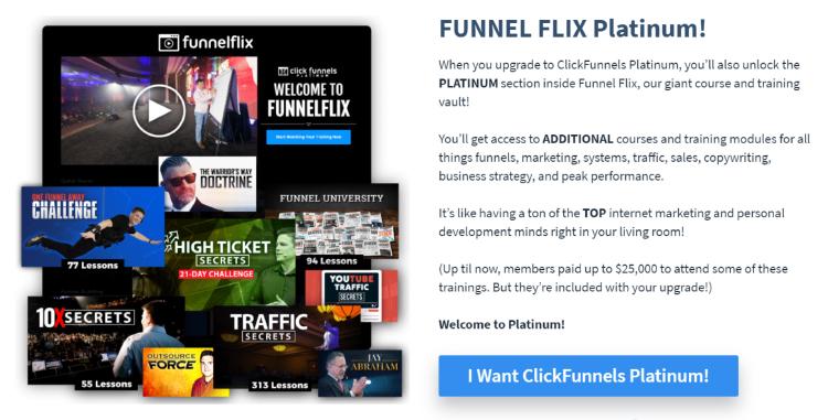 Clickfunnels, Funnel Flix Platinum graphic.