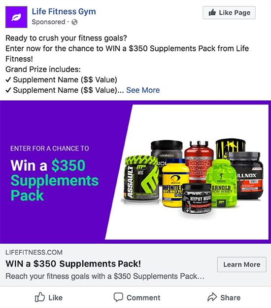 Social Advertising, gym fitness example.