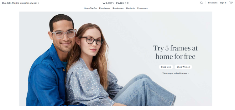 Warby Parker homepage quiz example.