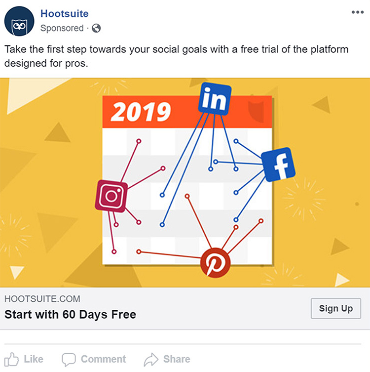 Social Advertising, Hootsuite free trial promotion example.