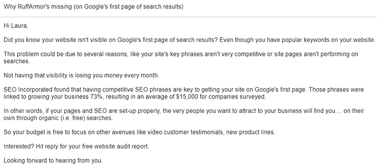 Start Doing Cold Outreach, email example.