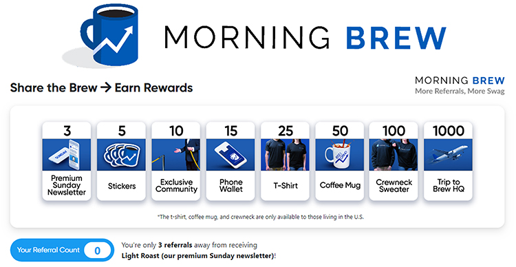 Referral Program, Morning Brew example.