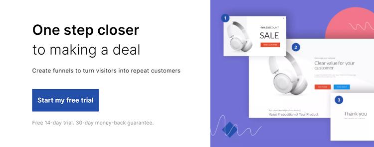 Landingi sales funnel features.