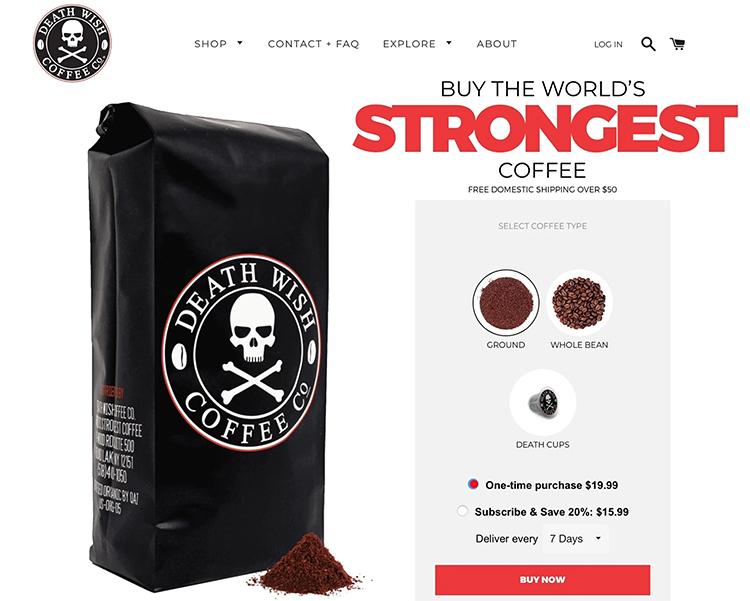 Define Your Unique Value, Death Wish Coffee example.