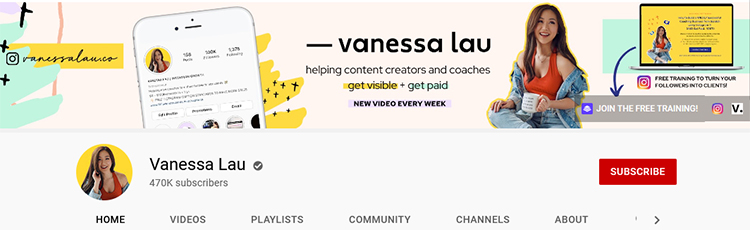 reate a Professional Channel Page, Vannessa Lau example.