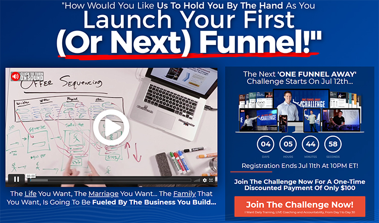 Free (Or Paid) Challenge, One Funnel Away example.