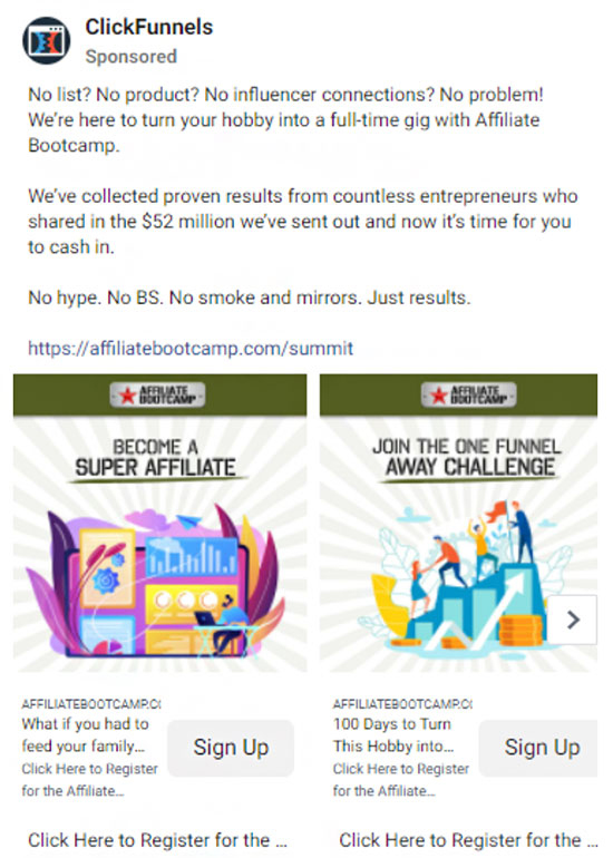 Clickfunnels ad targeting affiliate marketers.