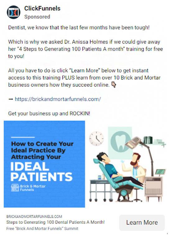 Clickfunnels ad ad targeting dentists.