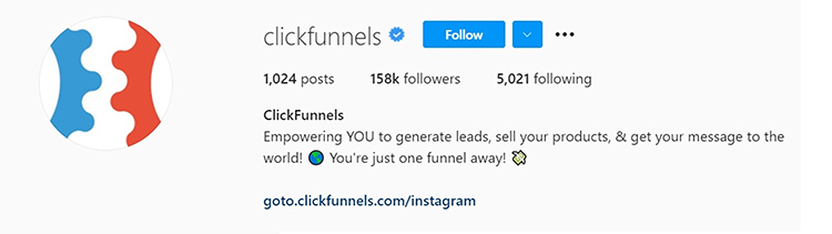 Promote Your Lead Magnet, Clickfunnels Instagram bio link containing a collection of links to landing pages.