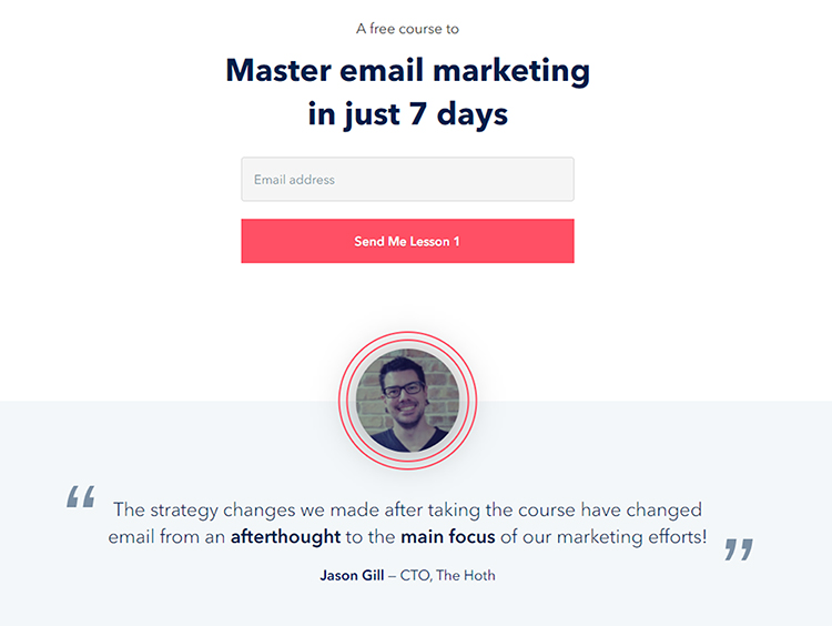 Email Mastery, elevator pitch example.