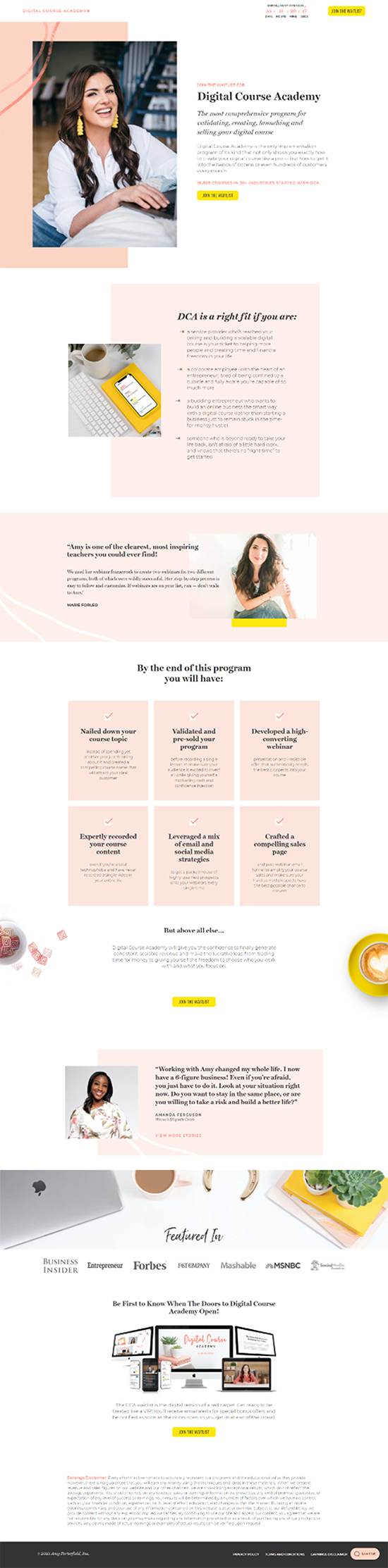 Collect Interest, initial product launch page example.