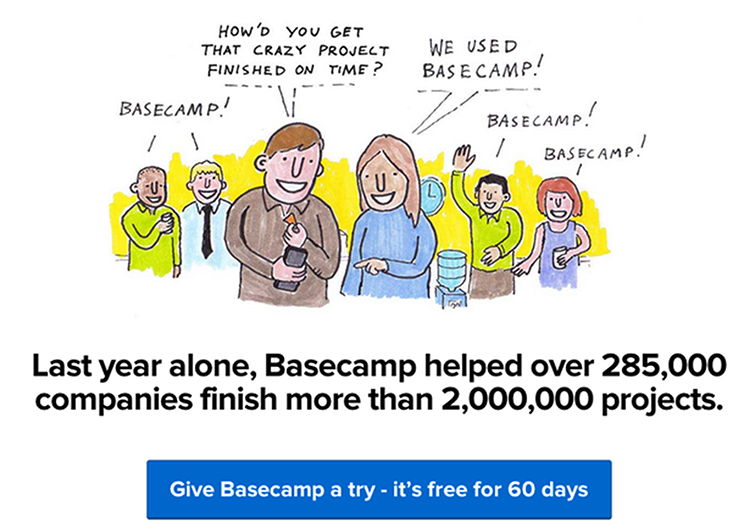 Create Credibility, Basecamp revealing the number of people they work with.