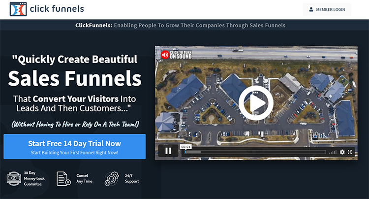 ClickFunnels homepage, elevator pitch example.