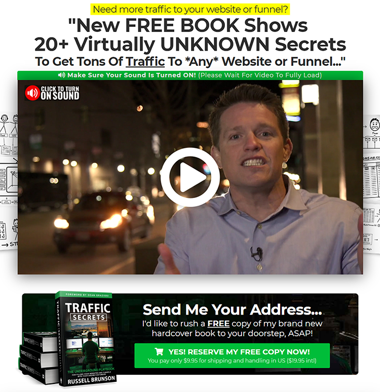 Free Book + Shipping, Clickfunnels example.
