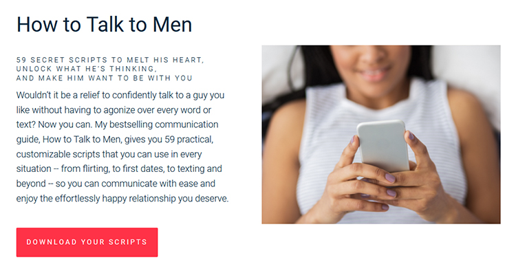 """Matthew Hussey's """"9 Texts"""" Lead Magnet + """"How to Talk to Men"""" Product example."""