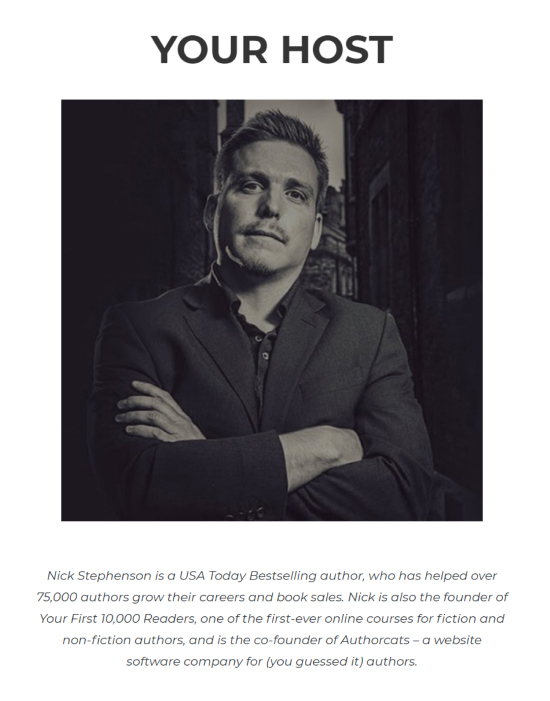 "Nick Stephenson's ""$0 to $1k Per Month"" author bio example."