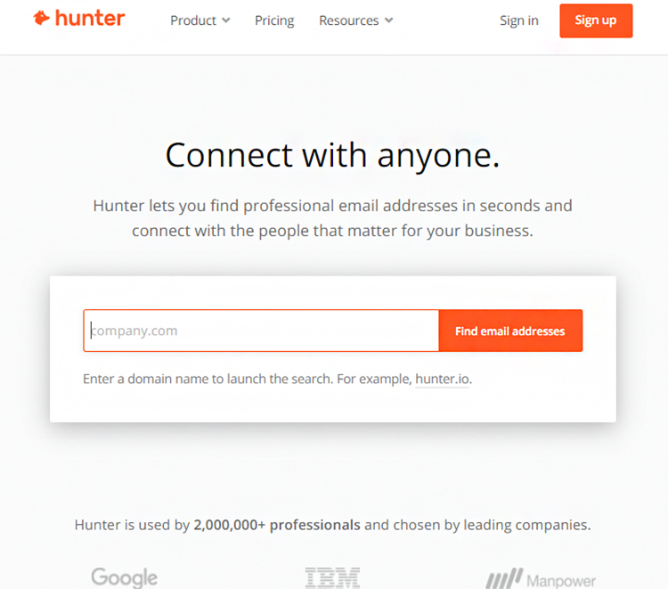 Reach Out to Prospects, Hunter website homepage.