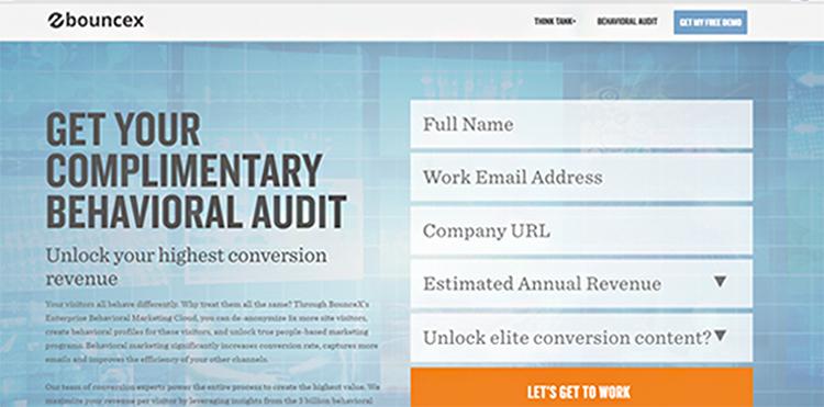 Free Audit/Consultation, Wunderkind website homepage example.