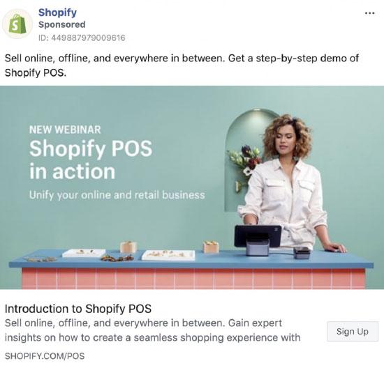 Retargeting, Shopify, Facebook retargeting ad example.