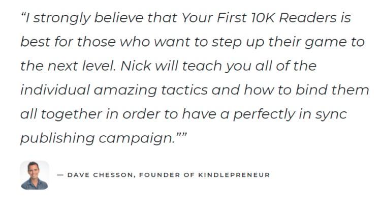 "Nick Stephenson's ""$0 to $1k Per Month"" third testimonial example."