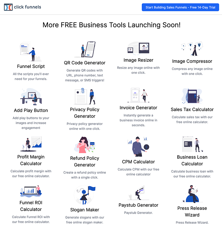 Clickfunnels, Free Online Tools graphic.