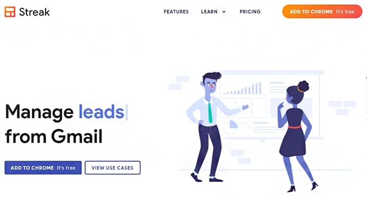 Manage Leads, Streak website homepage.