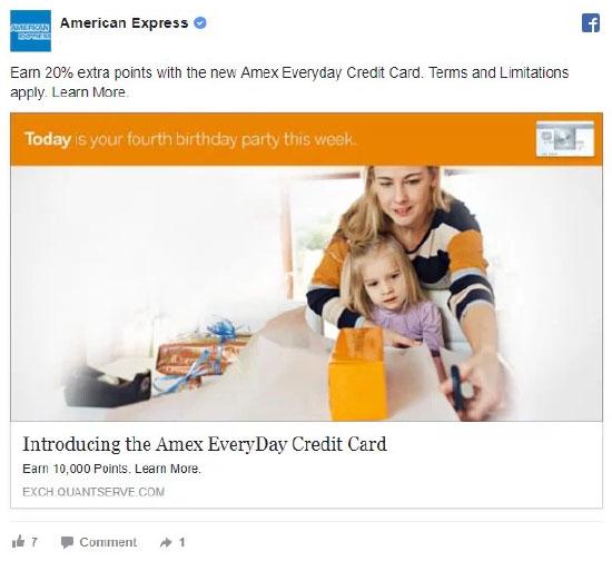 Retargeting, American Express, Facebook retargeting ad example.