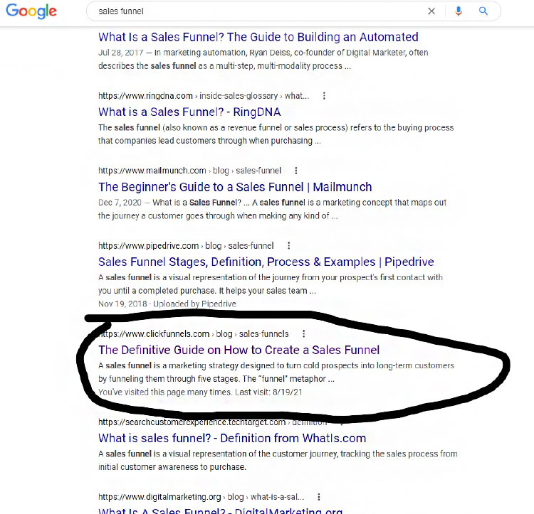 Search Engine Optimization, Search Engine Results Page example.