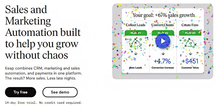 Manage Leads, Keap website homepage.