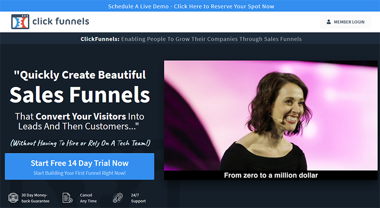 ClickFunnels homepage, 14-day free trial example.