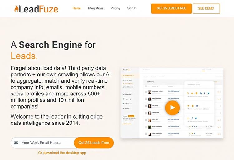 Find Prospects, LeadFuze website homepage.