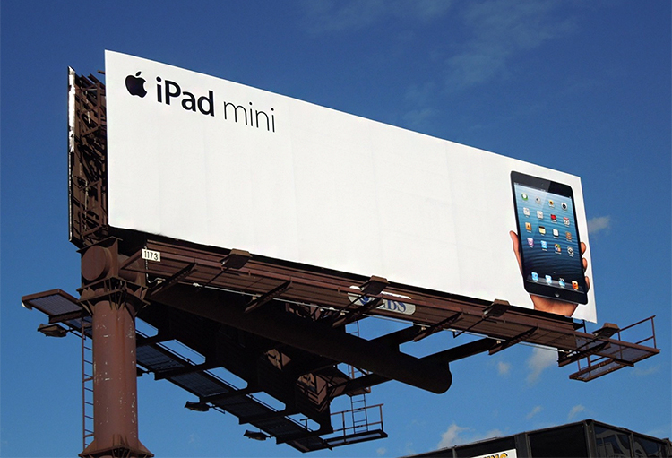 What's the difference between lead generation and brand awareness? iPad mini billboard advertising example.