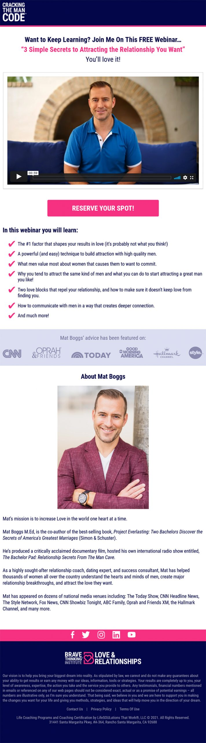 """Mat Boggs' """"15 Phrases That Ignite Desire In Men"""" Guide + """"3 Simple Secrets To Attracting The Relationship You Want"""" Webinar, 15 phrase free guide lead magnet, additional free offer, example."""