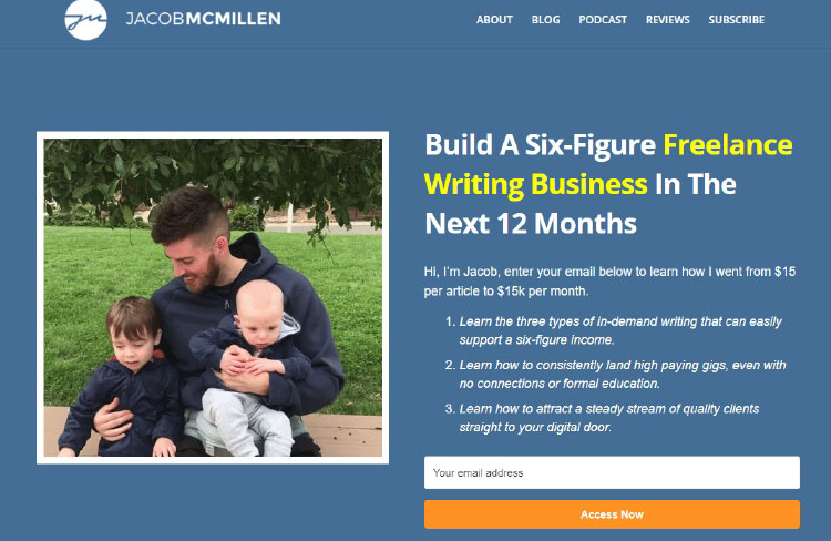 Free Course, Jocob Mcmillen offer page example.
