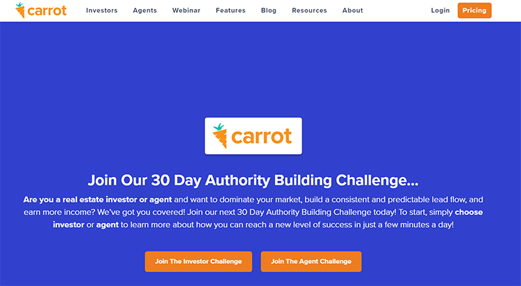Challenge Funnels, Carrot software company example.