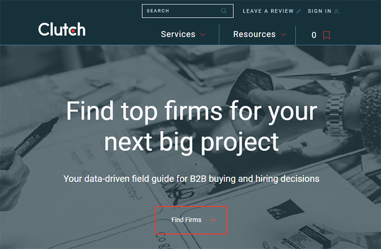 Find Prospects, Clutch website homepage.