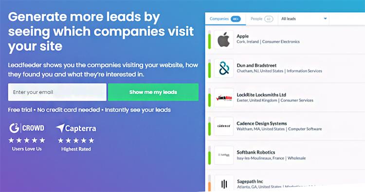 Find Prospects, LeadFeeder website homepage.
