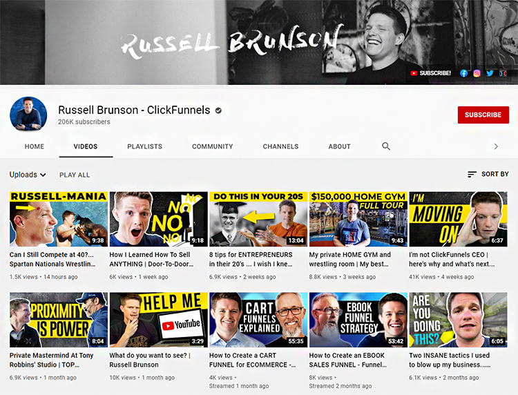 Build a YouTube Channel, Clickfunnels example.